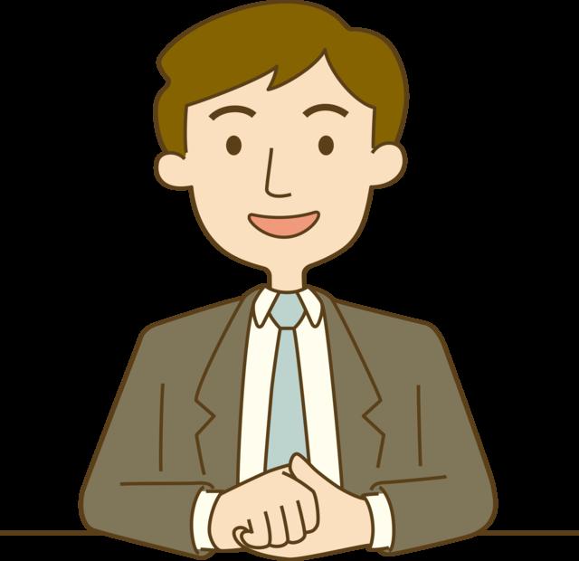 イラスト:机の上で手を組み、笑顔で話を聞こうとしている男性職員